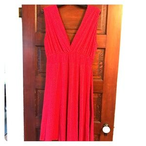 Red Deep V Dress with Polka Dot Print